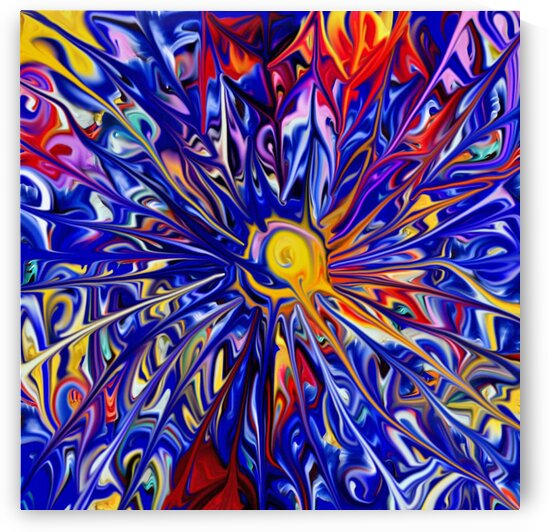 Abstract Rainbow Blue Sun by CvetiArt
