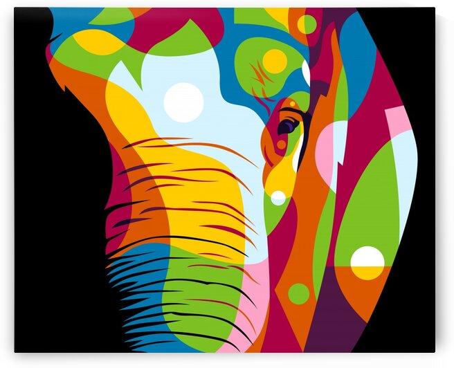 The Colorful Elephant Head Pop Art Style by wpaprint