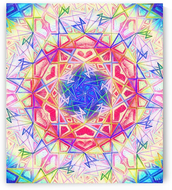 Psychedelic Art Hexagon Mandala Handdrawing by CvetiArt