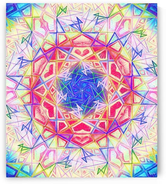 Psychedelic Art Hexagon Mandala Handdrawing by CvetiArt