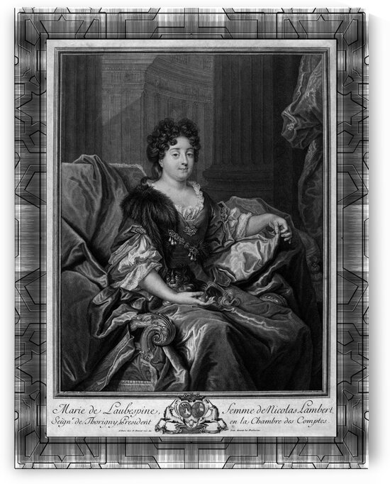 Marie de Laubespine by French Engraver Pierre Drevet Old Masters Fine Art Reproduction by xzendor7