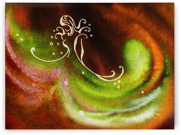 Warm Fall Flamenco Dance Abstract Watercolor  by Irina Sztukowski