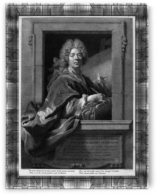 Nicolas de Largilliere by French Engraver Francois Chereau Classical Art Old Masters Reproduction by xzendor7