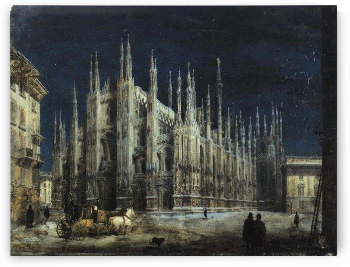 Notturno di Piazza del Duomo a Milano by Angelo Inganni