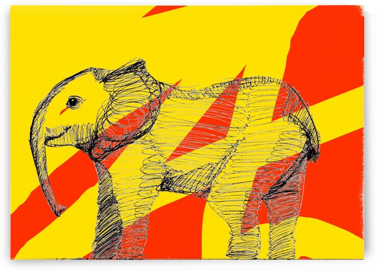 Baby elephant red and yellow by Oletydraw