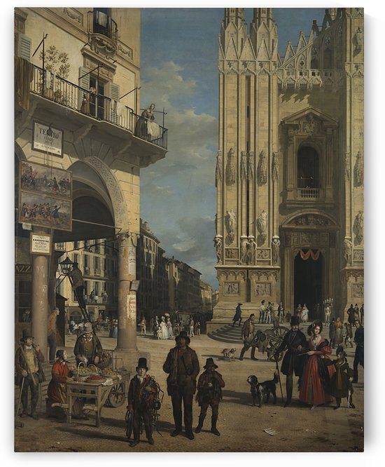 View of the Piazza del Duomo by Angelo Inganni