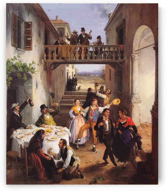 Festa di nozze in un cortile by Angelo Inganni