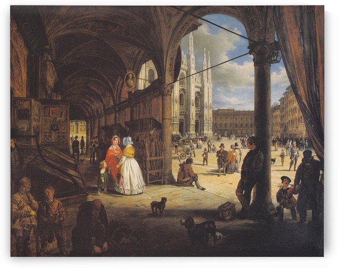 Veduta della piazza del Duomo dal Coperto dei Figini by Angelo Inganni