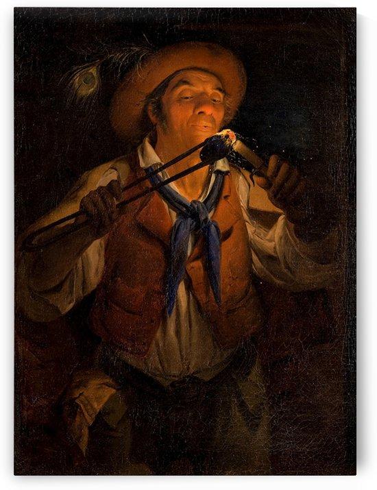 Contadino che accende una candela con un tizzone by Angelo Inganni