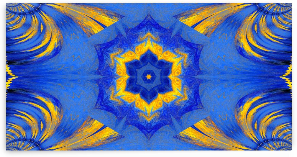 Blue Lotus In Gold by Sherrie Larch