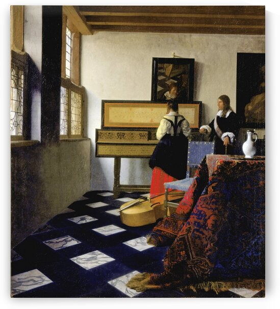 Johannes Vermeer: Lady at the Virginal with a Gentleman - The Music  Lesson HD 300ppi by Famous Paintings