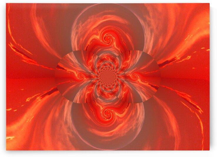 Orange Mating Phoenix Lotus by Sherrie Larch