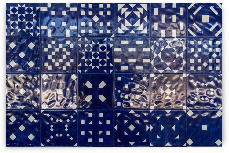 Glossy Modern Azulejos - Shimmering Geometric Patterns in Blue and White by GeorgiaM