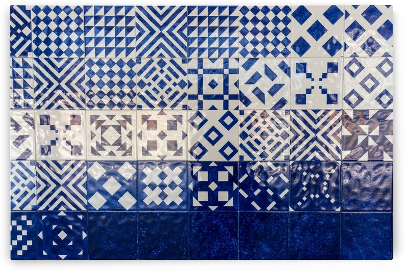 Glossy Modern Azulejos - Gleaming Geometric Patterns in Blue and White by GeorgiaM