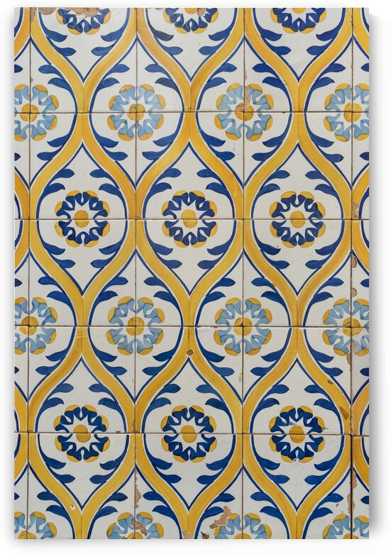 Painted Patterns - Azulejo Tiles in Blue and Yellow - Vertical Orientation by GeorgiaM