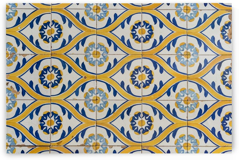 Painted Patterns - Azulejo Tiles in Blue and Yellow - Horizontal Orientation by GeorgiaM