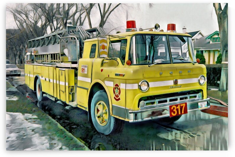 WFD Ladder 317 Fire Scene 1990s Painting by Jonathan Kozub