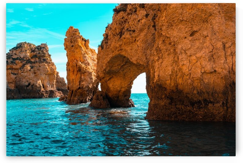 Rough Beauty - Sea Stacks and Natural Arches in Orange and Teal by GeorgiaM