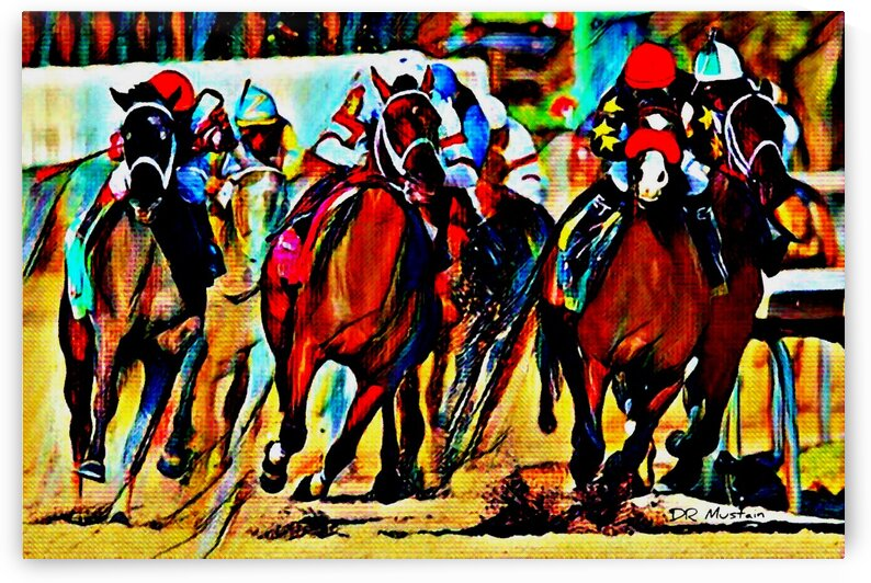 DR Mustain: Horse Racing -Down the Stretch Abstract Realism by Famous Paintings