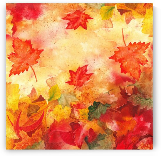 Welcome Fall Red Green Yellow Birch Oak Maple Watercolor Leaves by Irina Sztukowski