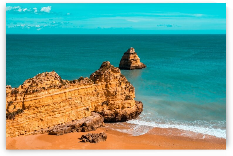 Fabulous Dona Ana Beach in Lagos Algarve Portugal in Teal and Orange by GeorgiaM