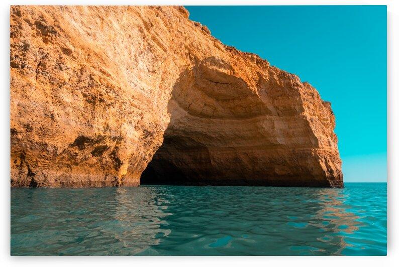 Rough Beauty - Algarve Coastal Sea Cave in Orange and Teal by GeorgiaM