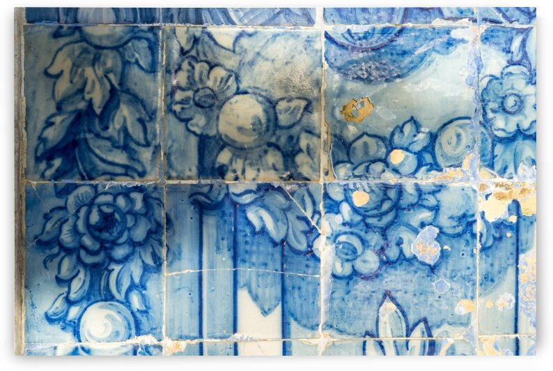 Antique Portuguese Azulejo - Centuries Old Stylized Botanical Garlands by GeorgiaM