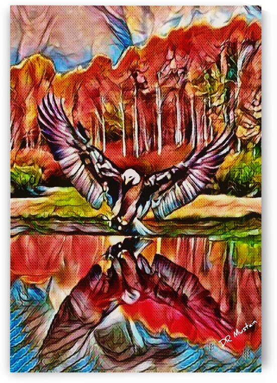 DR Mustain: Eagle -Gone Fishin - Abstract Surrealism - HD 300ppi by Famous Paintings