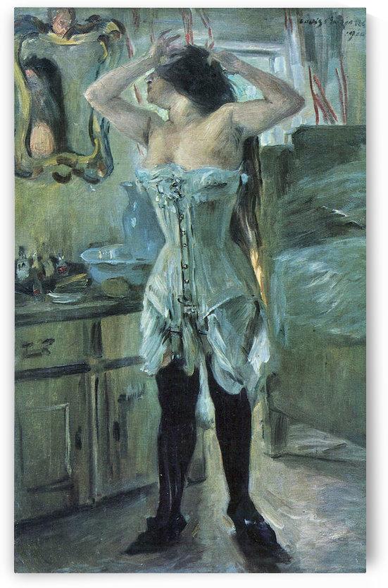 In a corset by Lovis Corinth by Lovis Corinth