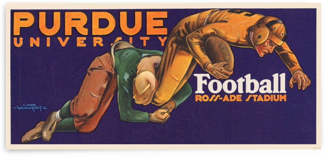 1929 purdue football art by Row One Brand