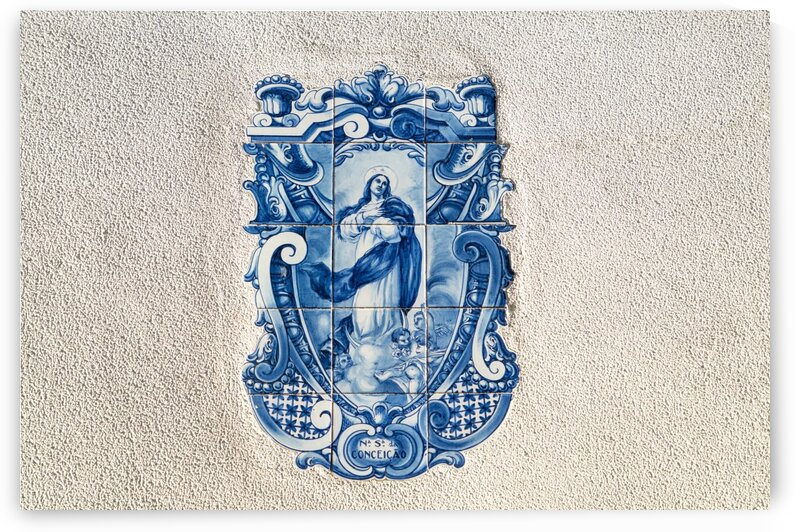 Nossa Senhora da Conceicao - Antique Portuguese Azulejo Medallion of the Virgin  Mary by GeorgiaM