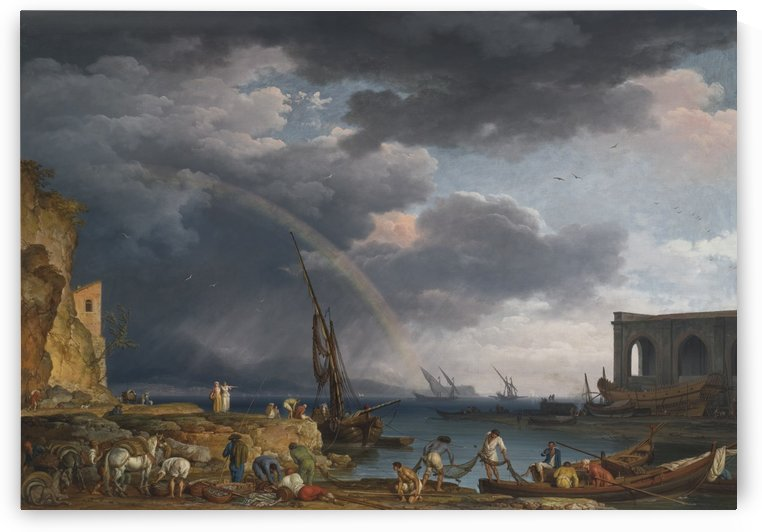 An Italian coastal view with a rainbow by Claude-Joseph Vernet