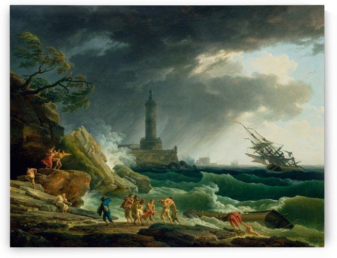 A Storm on a Mediterranean Coast by Claude-Joseph Vernet