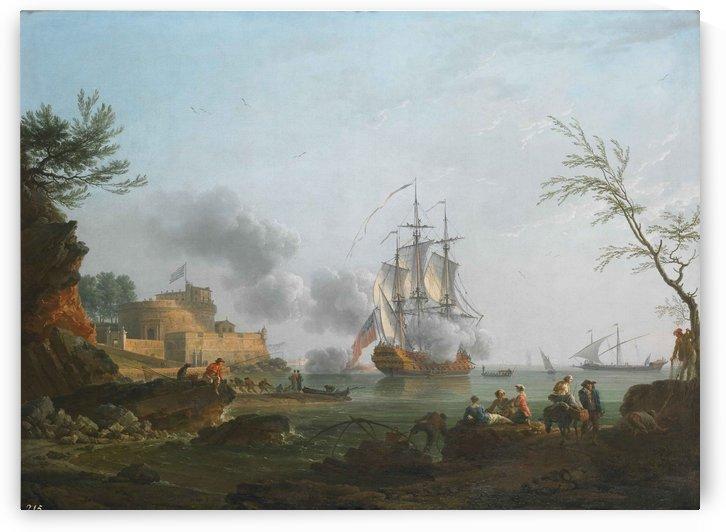 Entree d un port avec un navire tirant une salve by Claude-Joseph Vernet
