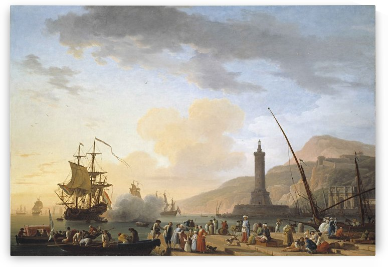 A seaport at sunset, 1749 by Claude-Joseph Vernet