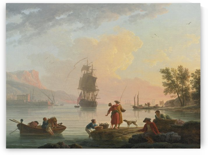 A coastal scene with fishermen in the foreground by Claude-Joseph Vernet