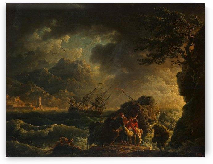 Shipwreck outside town by Claude-Joseph Vernet