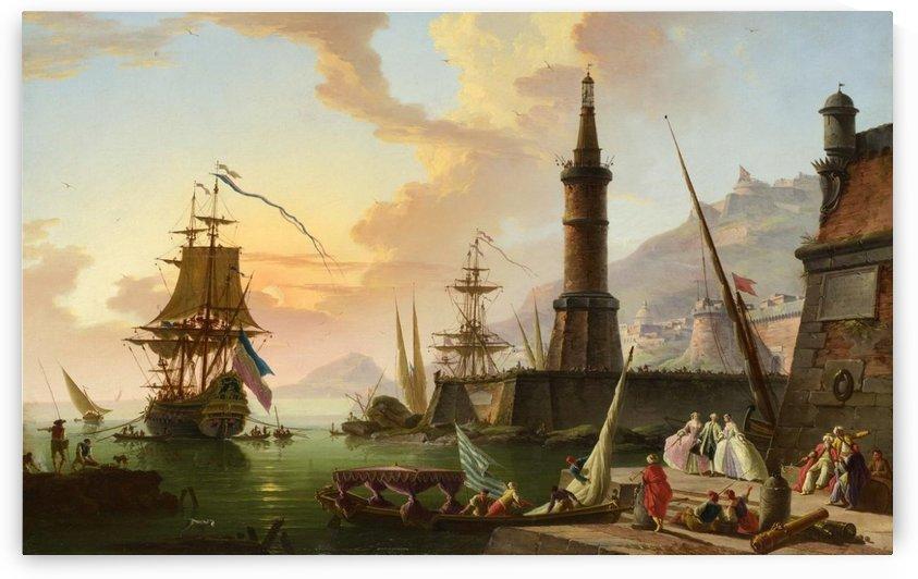 Entering port by Claude-Joseph Vernet