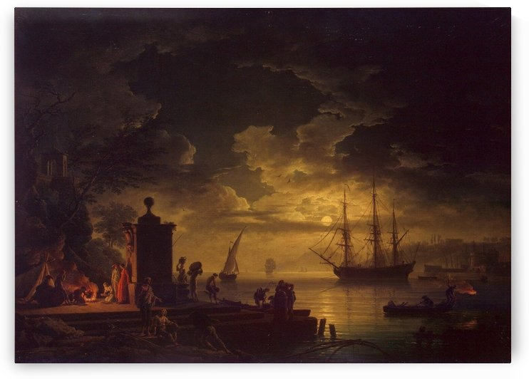 Moonlit Scene in the Environs of Citta Nuova in Illyria by Claude-Joseph Vernet
