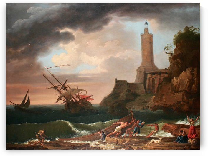 View of a rocky coastline with a Lighthouse and a sinking ship by Claude-Joseph Vernet