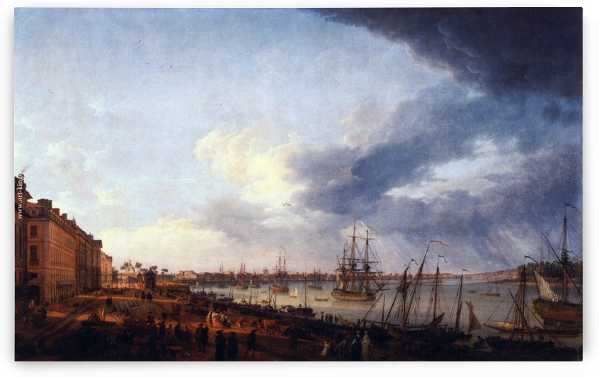 First view of the port of Bordeaux taking the side of Les Salinieres by Claude-Joseph Vernet