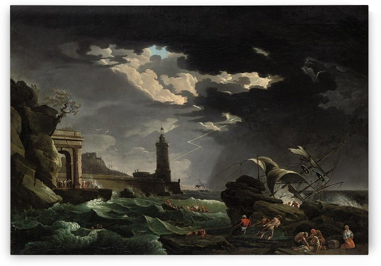Shipwrecked figures off a lighthouse in a storm by Claude-Joseph Vernet