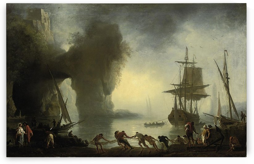 A Mediterranean coastal inlet with fishermen bringing in their nets, shipping beyond by Claude-Joseph Vernet