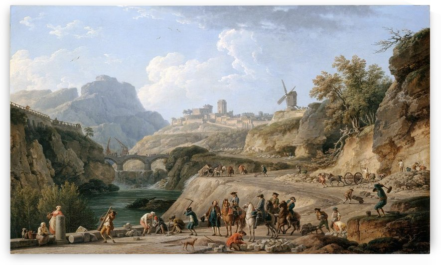 La construction de un grand chemin by Claude-Joseph Vernet