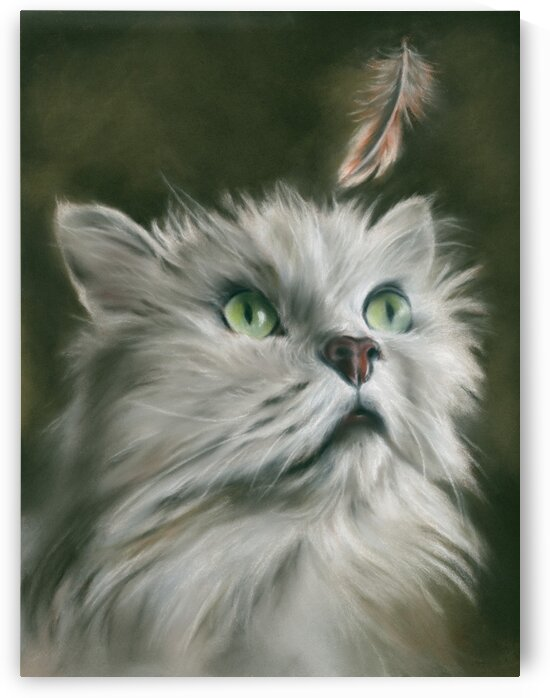 White Cat with a Feather by MM Anderson