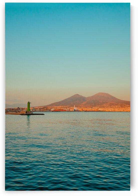 Vesuvio and Lighthouse at sunset by AngelaSorrentino