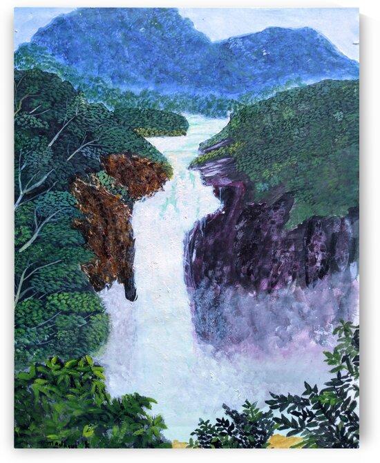 Serene Waterfall in Lush Green Scottish Highlands by MKulArts