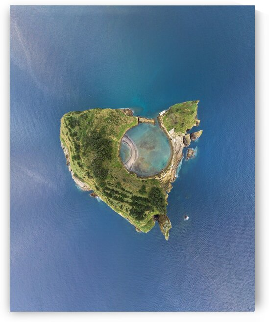 Aerial view of Islet of Vila Franca do Campo in Azores Portugal by Moe Shirani