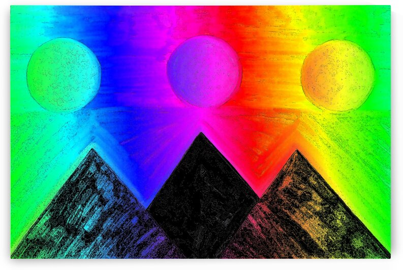 Pyramids Of Other Worlds In Rainbow by Sherrie Larch