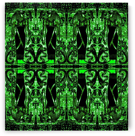 Egyptian Priests And Snakes Green 2 by Sherrie Larch